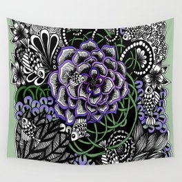 Fishes on a Coral Reef Greens - Zentangle Illustration Wall Tapestry