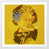 beethoven Art Prints featuring Beethoven by BIG Colours