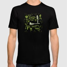 GREEN ON BLACK WITH BIRDS Black Mens Fitted Tee MEDIUM
