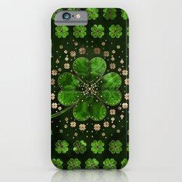 Irish Shamrock Four-leaf clover Malachite and gold iPhone Case