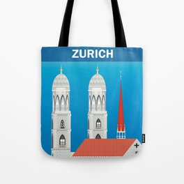 Zurich, Switzerland - Skyline Illustration by Loose Petals Tote Bag