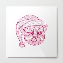Cat Wearing Santa Hat Mandala Metal Print