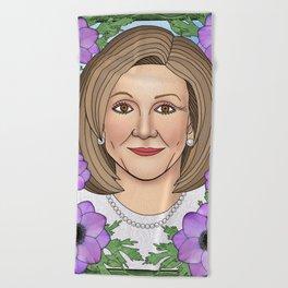 Nancy Pelosi portrait with purple anemone Beach Towel