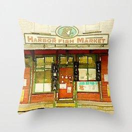 Harbor Fish Market Throw Pillow