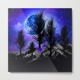 NEBULA STARS MOON BLACK TREES MOUNTAINS VIOLET BLUE Metal Print