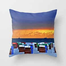 BEFORE THE STORM - beach chairs - Baltic Sea Throw Pillow