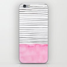 Stripes and pink watercolor iPhone & iPod Skin