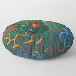 Aves del Paraiso - Birds of Paradise by Miguel Covarrubias Floor Pillow