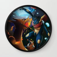 charizard Wall Clocks featuring Charizard VERSUS Greninja by Witchy