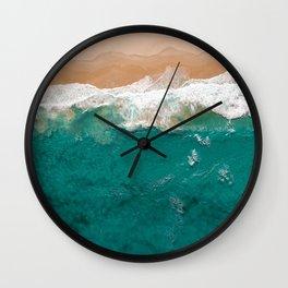 Lapping Aqua Waves On A Sandy Beach Wall Clock