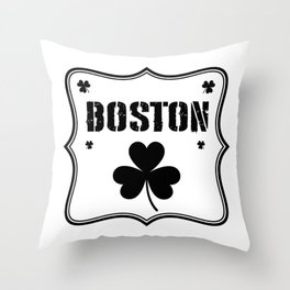 Boston Irish Shamrock St. Patrick's Day Throw Pillow
