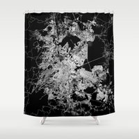 mexico Shower Curtains featuring mexico map by Line Line Lines