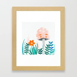 pink mushroom with botanical illustration Framed Art Print
