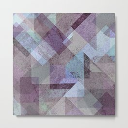 PLUM TURQUOISE ABSTRACT GEOMETRIC Metal Print