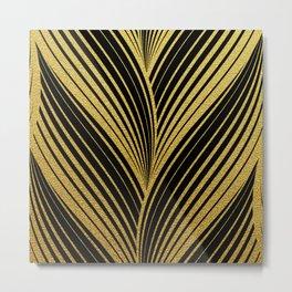 Golden leaves glitter abstract illustration pattern Metal Print