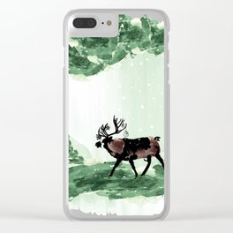 Reindeer in snowy forest Clear iPhone Case