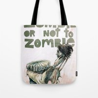 shakespeare Tote Bags featuring Zombie + Shakespeare by Stephane Lauzon