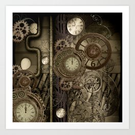 Steampunk, clocks and gears Art Print