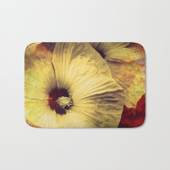 Yellow Flower in Smoke and Flames Bath Mat