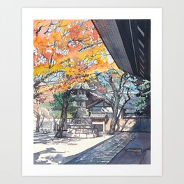 A shrine in autumn Art Print