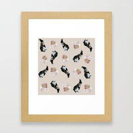 Rex and macaroons pattern Framed Art Print