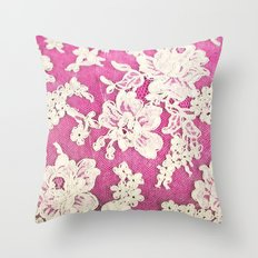pink lace-photograph of vintage lace Throw Pillow