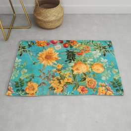 Vintage & Shabby Chic - Blue Botanical Flowers Summer Day  Rug
