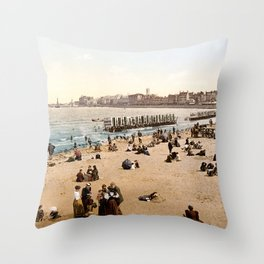 The harbour, Margate, Kent, England, ca. 1897 Throw Pillow