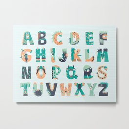 Little Monsters Alphabet Metal Print