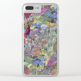 Colorful Flying Cats Clear iPhone Case