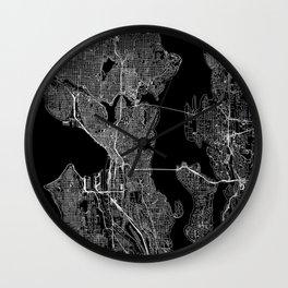 Seattle Black Map Wall Clock