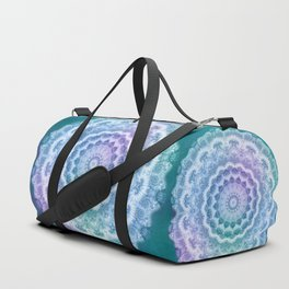 White Mandala on Teal, Purple and Navy Duffle Bag
