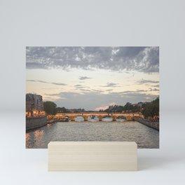 River Seine at night blue dusk sunset, romantic Parisian vibes   travel art to inspire wanderlust   Saige Ashton Prints Mini Art Print