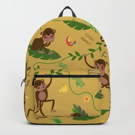 jumping cheeky monkeys yellow 03 Backpack