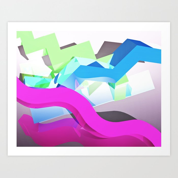 3D Geometric Shapes Art Print by idleamusement