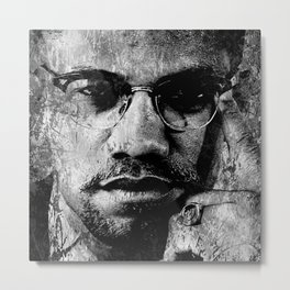 MALCOLM X (BLACK & WHITE VERSION) Metal Print