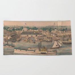 Vintage Pictorial Map of The 6th Street Wharf - Washington DC Beach Towel