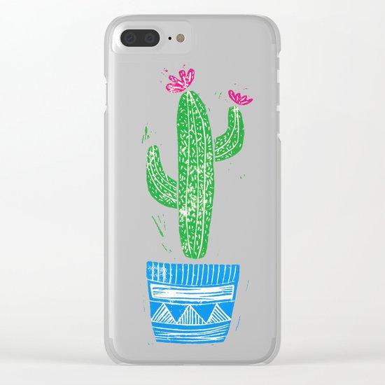 Linocut Cactus #2 in a pot Clear iPhone Case