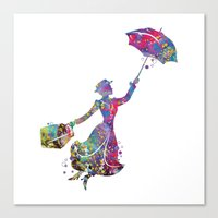 mary poppins Canvas Prints featuring Mary Poppins by Bitter Moon