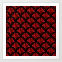 Beautiful Red Black Scalloped Pattern Art Print