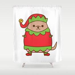 Cute Christmas Elf Pupsheen Shower Curtain