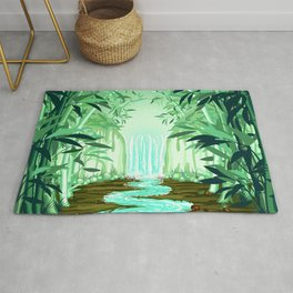 Fluorescent Waterfall on Surreal Bamboo Forest Rug