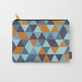 Triangle pattern orange & blue Carry-All Pouch