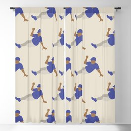 Baseball Player in Blue Sliding into Base, Flat Graphic Blackout Curtain