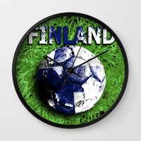 finland Wall Clocks featuring Old football (Finland) by seb mcnulty