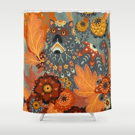 Foliage Cat Shower Curtain