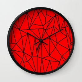 Geometric Cobweb (Black & Red Pattern) Wall Clock