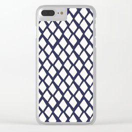 Rhombus White And Blue Clear iPhone Case
