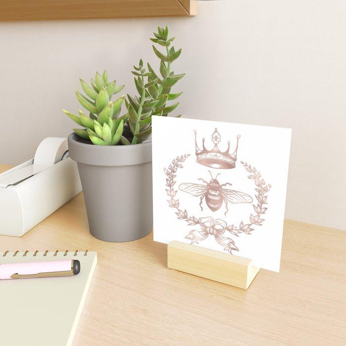 Queen Bee in Rose Gold Pink Mini Art Print