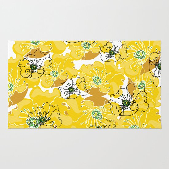 yellow marzipan flowers Rug